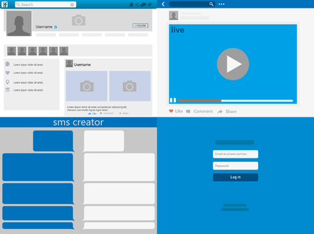 Social network Mock up, post frames and other pages, Web page browser, concept of Social Page Interface on the laptop vector illustration.