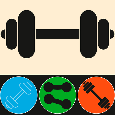 muscle lifting icon, fitness barbell, gym icon, exercise dumbbells isolated, vector weight lifting symbol. Illustration
