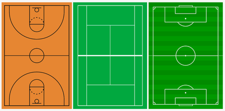 A Basketball, football, tennis court illustration with lines.