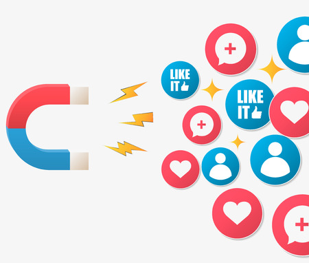 The powerful of influencer marketing is like the magnetic field that drags customer like icon into the business. Illustration