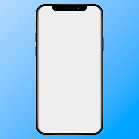 Black slim smartphone with blank white screen. Realistic vector illustration.