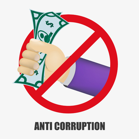 Anti Corruption concept. Man gives an envelope with money another man. Businessman giving a bribe. Cash in hands of businessmen during corruption deal. Vector illustration in flat style. EPS 10.