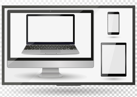 Realistic Computer, Laptop, Tablet and Smartphone with transparent Wallpaper Screen Isolated on white. Set of Device Mockup Illustration