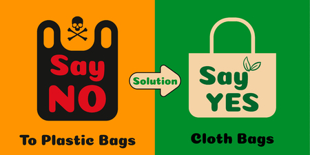 Pollution problem concept. Say no to plastic bags. Cartoon styled images with signage calling for stop using disposable polythene package. Vector illustration