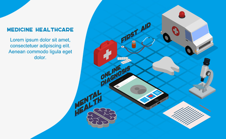 Medicine and healthcare modern flat design isometric concept. Pharmacy and people concept. Landing page template. Conceptual isometric vector illustration for web and graphic design.  イラスト・ベクター素材