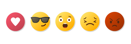 Emoji icons. Funny faces with different emotions. Isolated. Vector illustration