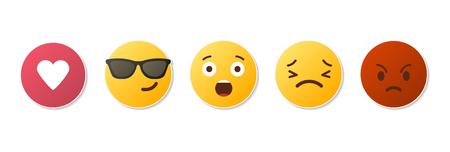 Icônes Emoji. Visages drôles avec différentes émotions. Isolé. Illustration vectorielle