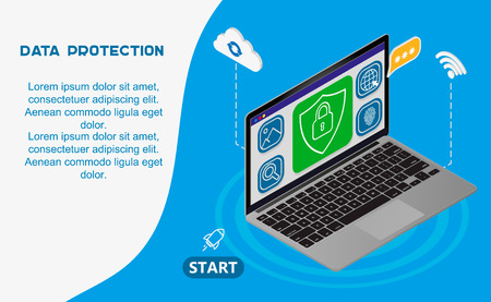 Internet security isometric concept.Traffic Encryption, VPN, Privacy Protection Antivirus hack.flat 3d isometry