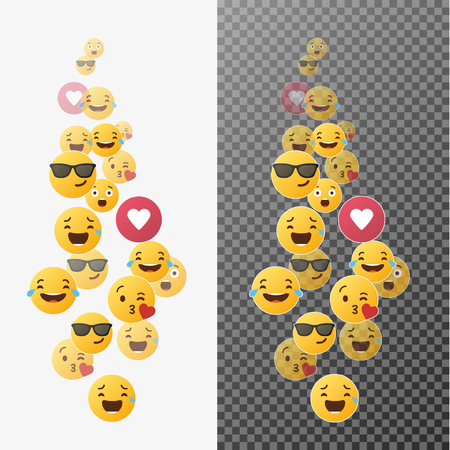 Flying Emoji. Various emoji in move. Expression of audience emotions. Vector illustration.