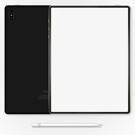 Tablet mockup , back on white background. stock vector illustration eps10