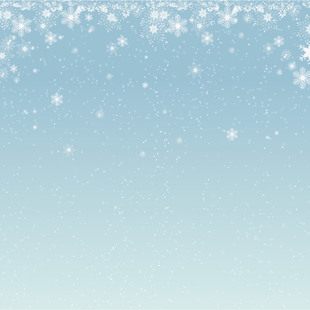 Beautiful falling snow Christmas background. Subtle flying snow flakes and stars on light grey background. Actual winter silver snowflake overlay template. Brilliant vector illustration. Illustration