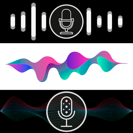 Personal assistant and voice recognition concept flat vector illustration of sound symbol intelligent technologies.  イラスト・ベクター素材