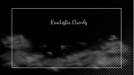Vector clouds over transparent background collection realistic white fluffy clouds set