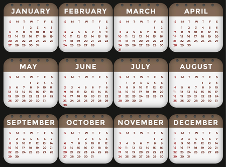 Vector calendar - Year 2019. Week starts from Sunday. Simple flat vector illustration. Illustration