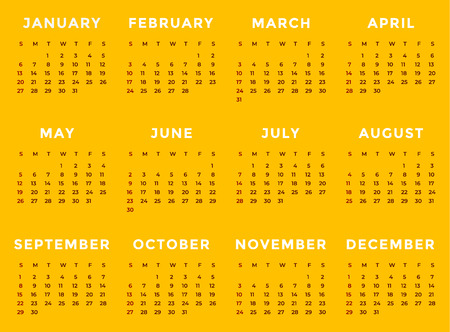 Vector of 2019 new year calendar on yellow background.