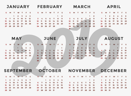 Calendar 2019 template. Calendar design in black and white colors Vector illustration