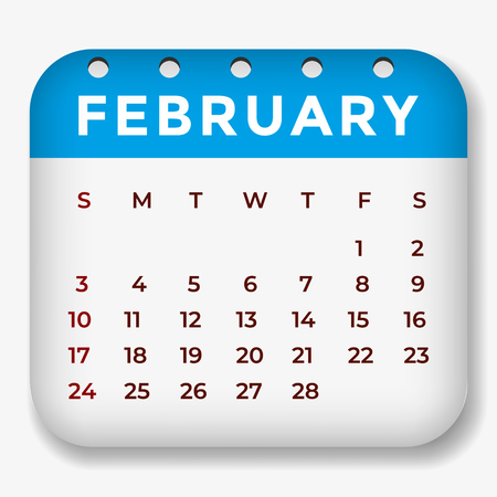 February 2019 calendar. Calendar sticker design template. Week starts on Sunday. Business vector illustration
