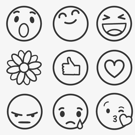 Set of Emoticons, Emoji and Avatar. Outline style illustrations - stock vector