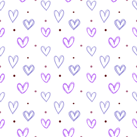 Hand drawn seamless pattern with hearts