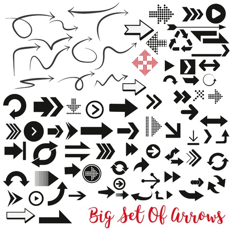 Arrows vector collection with elegant style and black color. arow icons set.  イラスト・ベクター素材