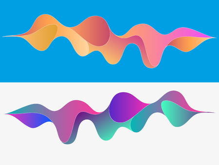 Multicolored abstract fluid sound wave. Vector illustration