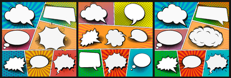 Colorful comic book background.Blank white speech bubbles of different shapes. Rays, radial, halftone, dotted effects. Vector illustration in pop art style.
