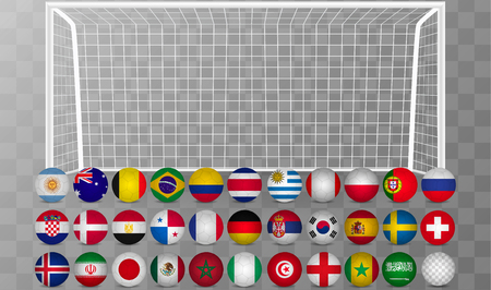 Vector realistic soccer goal with grid and soccer ball isolated on white background Illustration