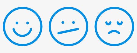 Smiley icon outline feedback set vector. Vetores