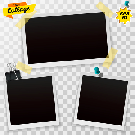 Set of blank retro photographs with shadow isolated on a transparent background. Realistic empty photo frames, mockup template. Vector illustration EPS10