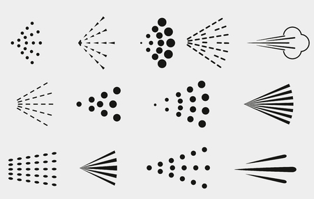 Jeu d'icônes de pulvérisation. Symboles de nuage de pulvérisation de fluide noir simples Vecteurs