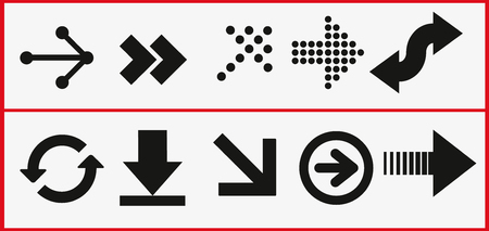 arrows vector collection black. Different black Arrows icons,vector set. Abstract elements for business infographic. Up and down trend.  イラスト・ベクター素材