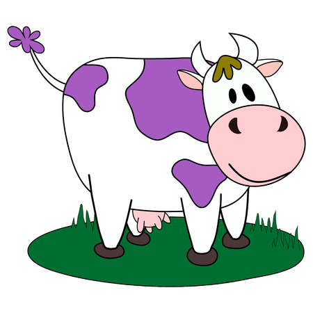 Vector illustration, line cartoon standing spotted cow in violet colors. Hand drawn, isolated. Applicable for package, poster, label designs, banners, flyers etc.