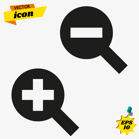Zoom Icon in trendy flat style isolated on grey background. Enlarge and decrease symbols for your web site design, logo, app, UI. Vector illustration, EPS10. Illustration