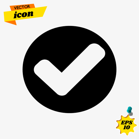 Flat Confirm icon. Check mark flat icon vector