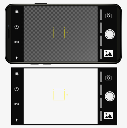 smartphone with camera application. User interface of camera viewfinder. Focusing screen in recording time. Gallery, hdr, quality, image stabilization icon, ui. Vector illustration flat style