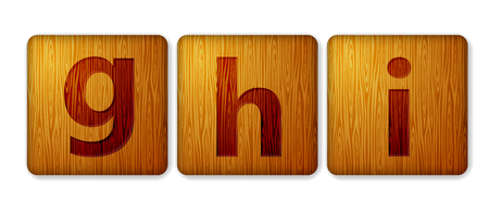 G,H,I blocks wooden icon. Alphabet cubes with letters.