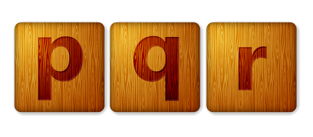 P, Q, R blocks wooden icon. Alphabet cubes with letters.
