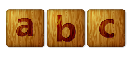 ABC blocks wooden icon. Alphabet cubes with letters