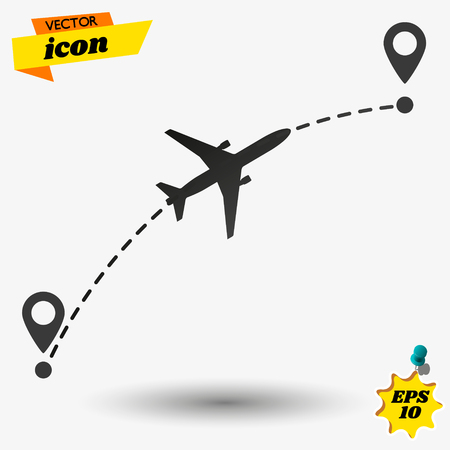 Airplane flight route. Flight tourism route path. Starting pin to destination point. Travel symbol. Vector illustration.