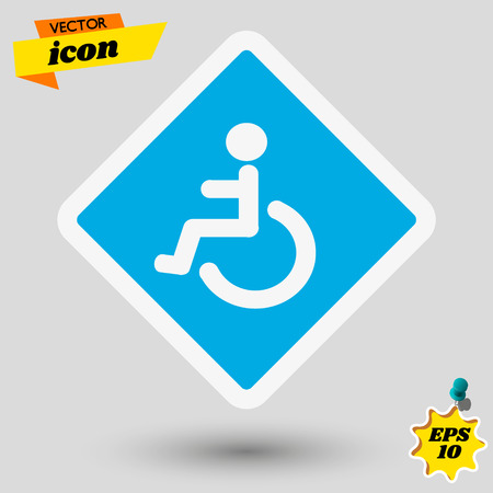Wheelchair, handicapped or accessibility parking or access sign flat blue vector icon for apps and print. Wheelchair vector