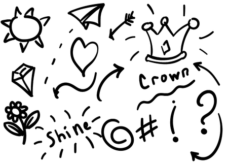Swishes, swoops, emphasis doodles. Highlight text elements, calligraphy swirl, tail, flower, heart, graffiti crown. Illusztráció