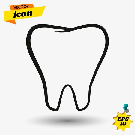 teeth icon dentist flat vector signsymbol. For mobile user interface