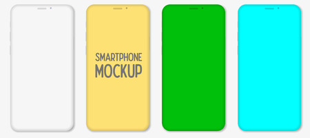 Mockup smartphone with blank screen isolated on white background. Mockup to showcasing mobile web-site design or screenshots your applications. Vector illustration Vektoros illusztráció