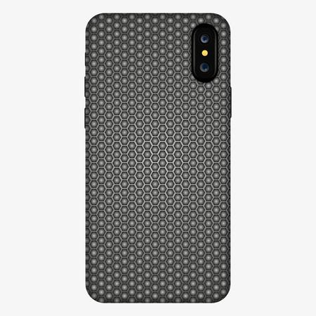 teléfono inteligente con cubierta hexagonal sobre fondo abstracto. estuche para teléfono, ilustración vectorial. maqueta de caso Ilustración de vector