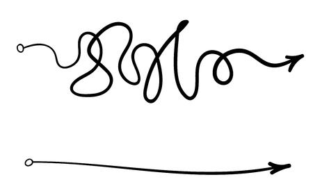 línea desordenada como forma fácil y difícil. elemento de bola de diseño de cuestionario aleatorio gráfico de arte moderno de tendencia lineal plana aislado en blanco. concepto de camino verdadero y falso o camino recto y sinuoso o idea mental