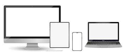 Zestaw nowoczesnych urządzeń makiet z pustymi bezramowymi ekranami: monitor, laptop, telefon komputera typu tablet. Ilustracja wektorowa