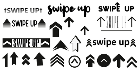 Vector swipe up icon set isolated on background for stories design blogger, scroll pictogram. Arrow up logo. 10 eps Black swipe up vector