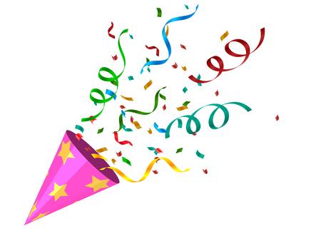 Party krakers z kolorowym konfetti. Wybuchające świąteczny Popper na przezroczystym tle. Element świętowania nowego roku, urodzin, rocznicy. Ilustracja wektorowa