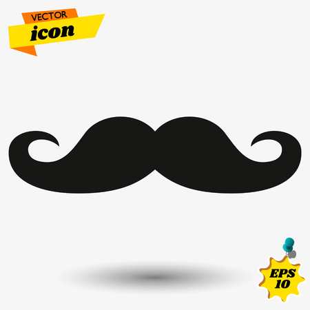 Set of black mustaches isolated on white background. Three hand drawn mustaches. Vector illustration.