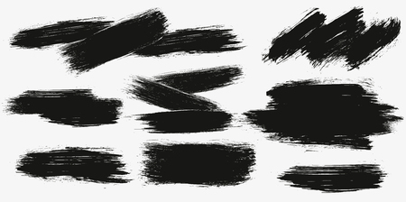 One color monochrome artistic hand drawn backgrounds. Vector set of hand drawn brush strokes, stains for backdrops. Monochrome design elements set Illustration